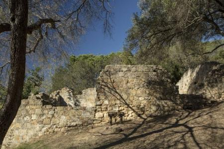 Ruins of a grist mill from 1827 in Santa Barbara, ...