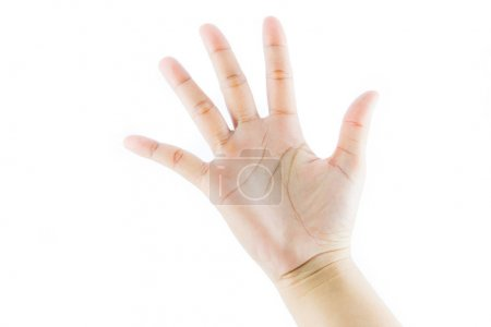 Photo for Hand gesture number five isolate on white background - Royalty Free Image