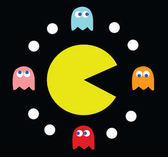 Pac-Man surrounded by his enemies
