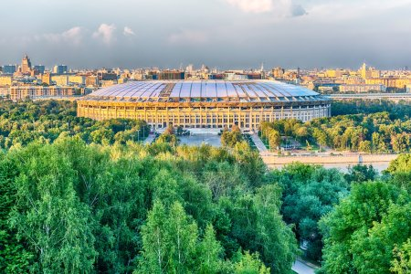 Aerial view of Luzhniki Stadium from Sparrow Hills, Moscow, Russia