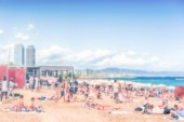 Defocused background of the Barceloneta beach, Barcelona, Catalonia, Spain