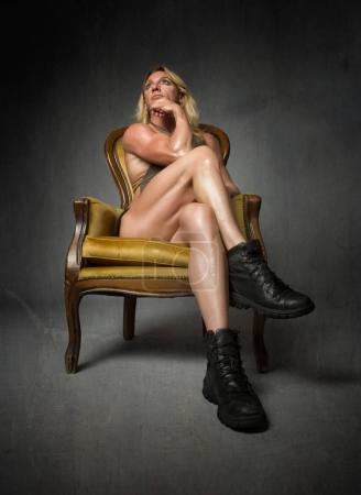muscular woman sitting