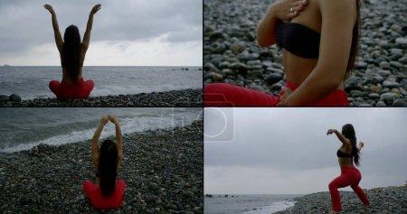 mujer está realizando ejercicios físicos y meditando en la costa del mar, collaged shot