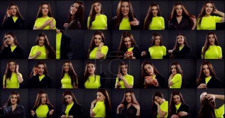 collage multi shot de retratos de mujer joven alegre en el estudio