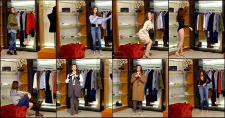 mujer está eligiendo trajes en la sala de armario, ponerse ropa y zapatos, vista collaged