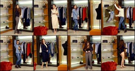 joven fashionista está probando diferentes trajes en vestuario de tienda de ropa, collage shot