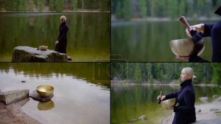 práctica espiritual con cuenco de canto tibetano en la orilla del lago tranquilo en el bosque, collage shot