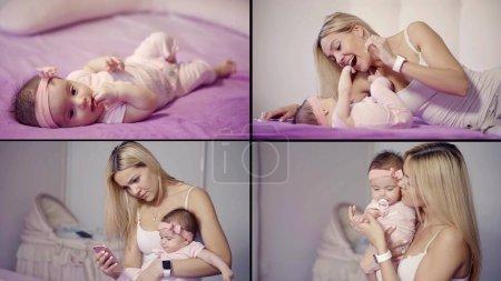 Photo pour Un collage de quatre vidéos. un enfant est allongé sur un drap lilas, une jeune mère joue avec lui, tenant sa fille dans ses bras et vérifiant son téléphone - image libre de droit