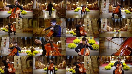 Photo for Multiple shots collage of musician playing violoncello, concert of classical music - Royalty Free Image