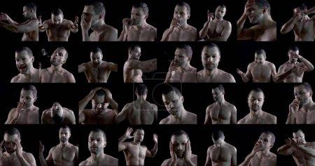 actor masculino está demostrando diferentes emociones e imágenes con maquillaje blanco, plano collaged