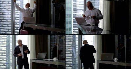 Photo pour Collage d'un homme d'affaires chauve en costume d'affaires. Il est situé dans le bureau du centre d'affaires, qui a des bâtiments à plusieurs étages en dehors de la fenêtre. S'occupe du téléphone et de l'ordinateur portable, boit du café - image libre de droit
