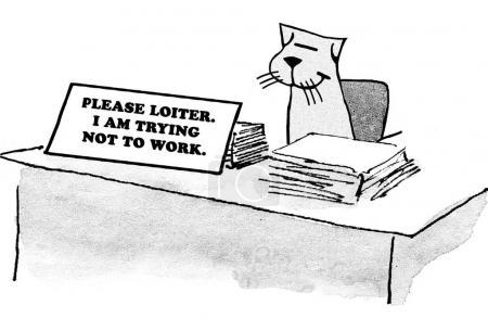 Photo pour Caricature d'entreprise d'un travailleur qui ne veut pas travailler, il préférerait flâner . - image libre de droit