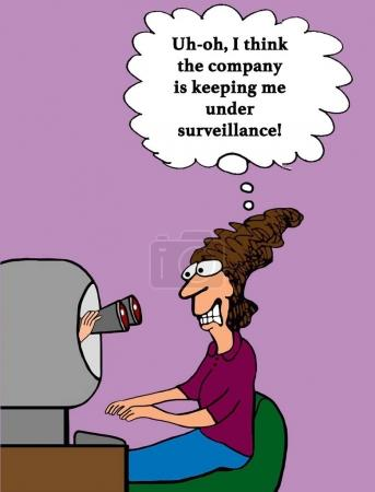 Business cartoon about binoculars coming out of a ...