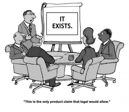 Photo pour Caricature d'entreprise sur l'interdiction légale du marketing pour faire des allégations de produits . - image libre de droit