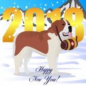 Happy new year card with St bernard dog lifesaver