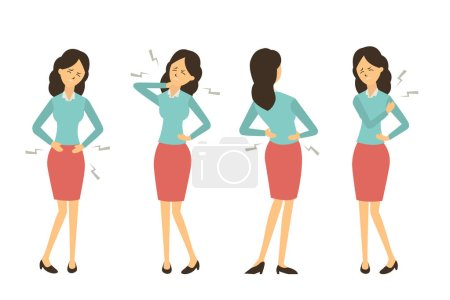 Illustration for Character set of businesswoman at workplace get pain in various problem, back pain, abdominal problem, neck pain, and hurt at shoulder from working. - Royalty Free Image