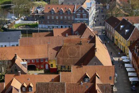 Danish Royal Ribe town seen from above.