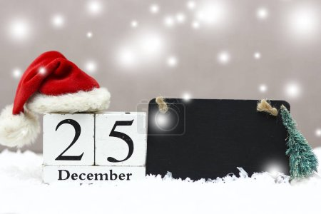 Photo pour Date de Noël en bois avec fond de vacances - image libre de droit
