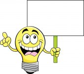Cartoon illustration of a light bulb holding a sign