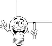 Black and white illustration of a light bulb holding a sign