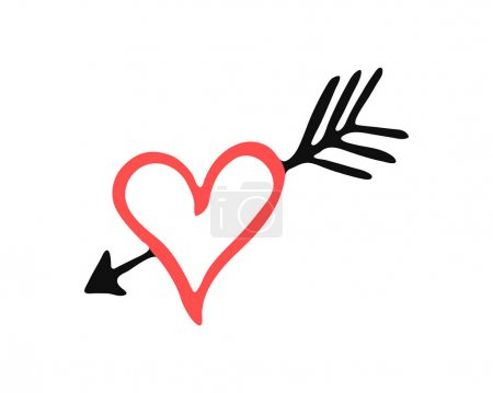 Illustration for Isolated red hand drawn heart with black arrow. Cupid love symbol for logo, holiday, icon. Vector illustration - Royalty Free Image