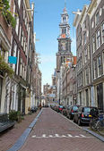 Amsterdam in the Jordaan with the Westerkerk in the Netherlands
