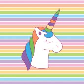 Rainbow unicorn head colorful magical A playful modern and flexible print for brand who has cute and fun style Happy bright and magical mood