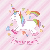 I am unicorn print with diamond star stripe background A playful modern and flexible print for brand who has cute and fun style Happy bright and magical mood