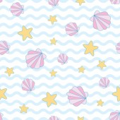 Magical shell and star in wave background A playful modern and flexible pattern for brand who has cute and fun style Repeated pattern Happy bright and magical mood