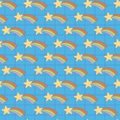 Blue rainbow star in square background A playful modern and flexible pattern for brand who has cute and fun style Repeated pattern Happy bright and magical mood