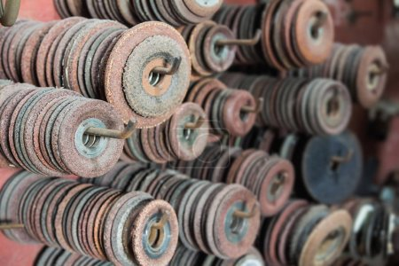 Old used grinding wheels