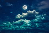 Night sky with bright full moon and dark cloud, serenity nature