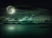 Landscape of sky with full moon on seascape to night. Serenity nature background.