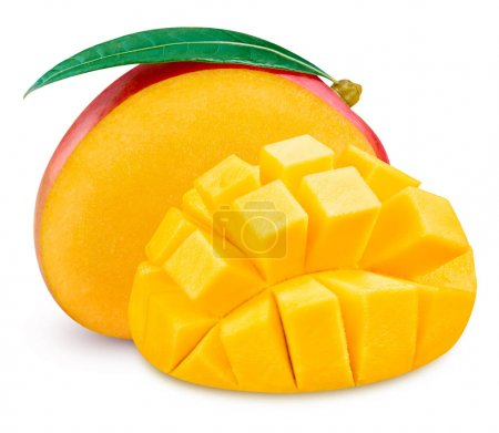 Photo for Mango fruit and mango half Isolated on a white Clipping Path - Royalty Free Image