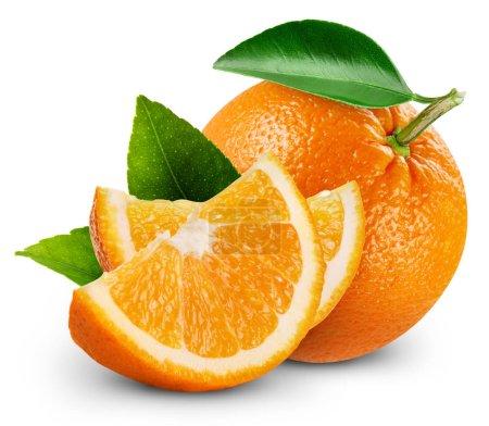 Photo pour Fruits orange avec feuilles isolé sur fond blanc - image libre de droit