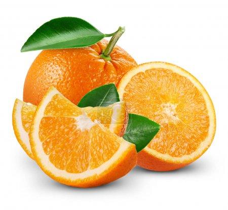 Orangenfrüchte mit Blatt
