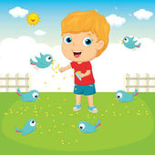 Vector Illustration Of A Kid Feeding Birds