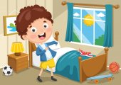 Vector Illustration Of Kid Wearing Clothes