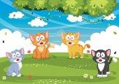 Vector Illustration Of Cartoon Cats