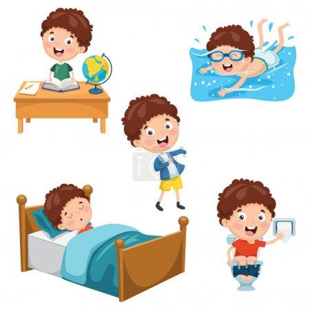 Ilustracja wektorowa dzieci codzienne czynności