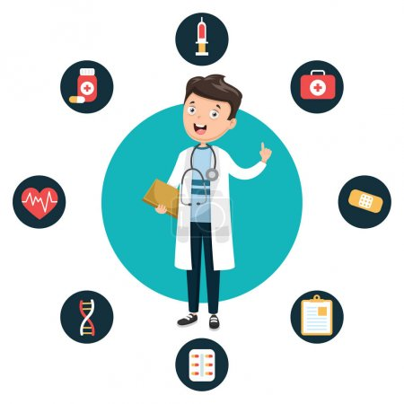 Illustration for Vector Illustration Of Health Care And Medical - Royalty Free Image