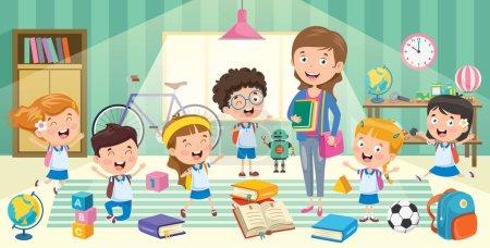 Illustration pour Petits étudiants avec leur professeur - image libre de droit