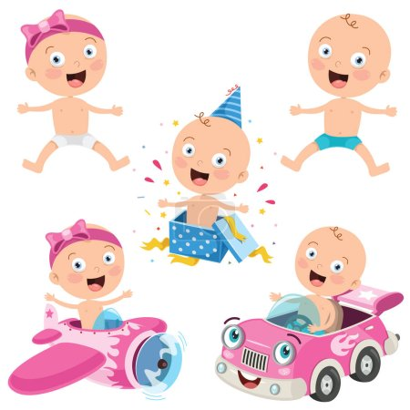 Illustration for Various Poses Of Cartoon Baby - Royalty Free Image