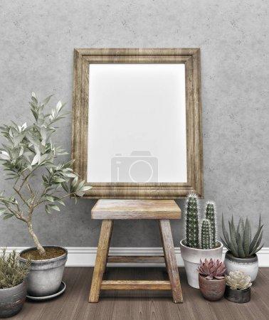 Photo for 3d Frame mock-up. Frame mockup in interior. - Royalty Free Image
