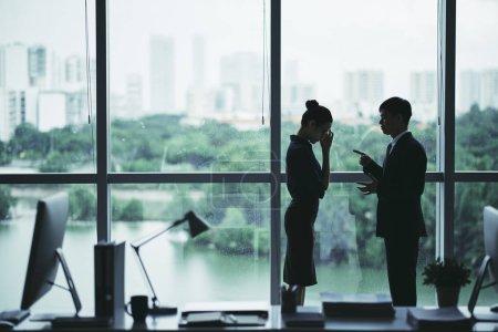Boss scolding shameful female employee