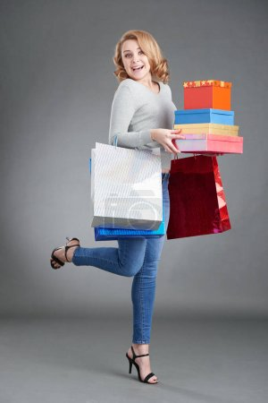 customer with presents and shopping bags