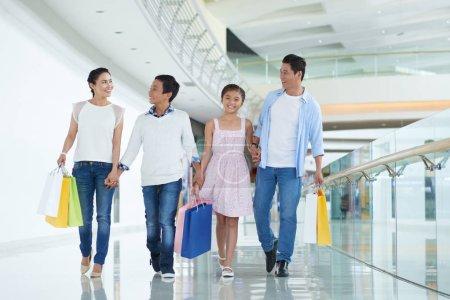 family enjoying shopping on weekend