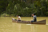 couple boating on calm river