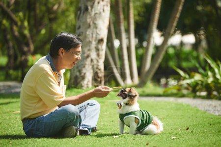 Photo pour Traiter l'homme senior asiatique donnant à son petit chien - image libre de droit