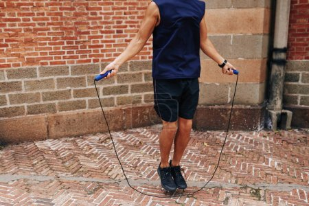Man skipping with jump rope